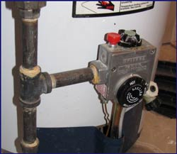 Gas Valve and Settings Dial on Water Heater